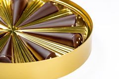 Close up of a golden box with chocolates