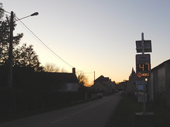 Sunset and radar speed sign in France