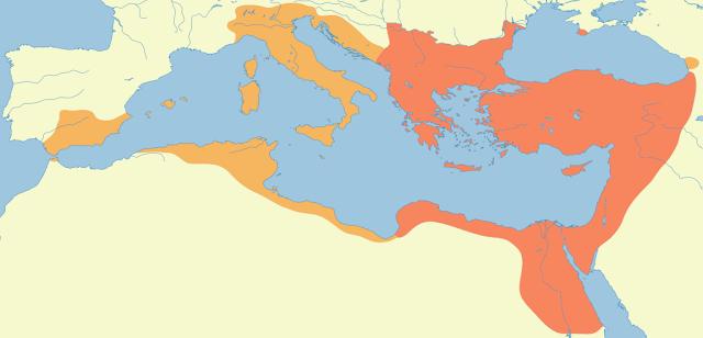 إتساع الإمبراطورية الرومانية الشرقية في عهد الإمبراطور جستينيان الأول