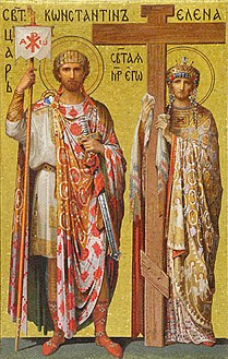 القديسة هيلانة مُمسكة خشبة الصليب المقدس وإلى جوارها إبنها الإمبراطور قسطنطين الكبير