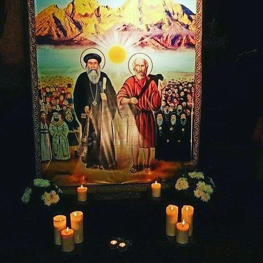 صورة للقديس البابا إبرآم والقديس سمعان الخراز