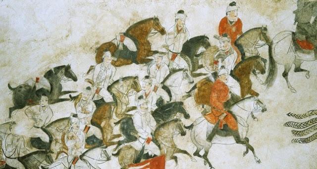 لوحة تخيلية توضح جيوش الأتراك في إحدى حملاتهم التوسعية الإستقلالية عن الدولة العباسية