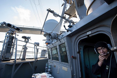 A Sailor stands watch on the bridge of USS Ross (DDG 71) while en route to the Black Sea, Feb. 23, 2020.