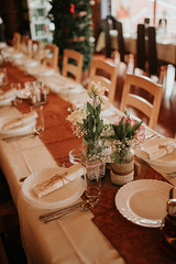 Wedding reception table setting at a vintage traditional resort