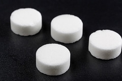 A dry fuel tablets on black background