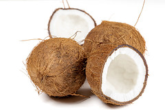 Ripe fresh coconuts on a white background