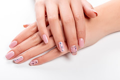 Well-groomed female hands with manicure on a white background