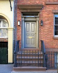 Blue front door, 90 Grove Street (1827), Greenwich Village, New York