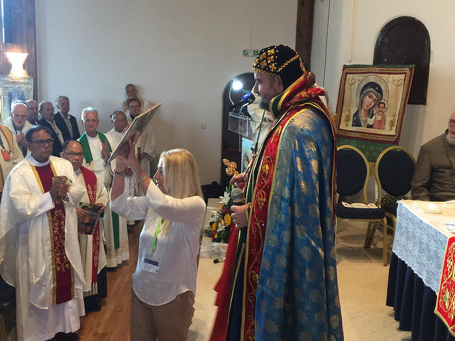 Archbishop Silouanos gives a present to Vassula