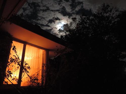 Moon light and the lounge room window light.