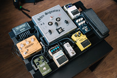 Colorful pedalboard from above
