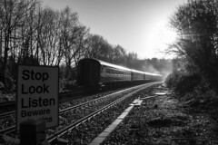 Misty morning: Wern Ddu foot crossing, near Caerphilly, south Wales