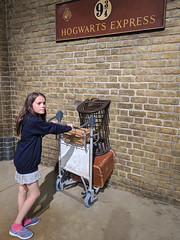 Pushing the luggage cart through the barrier to Platform 9 3/4