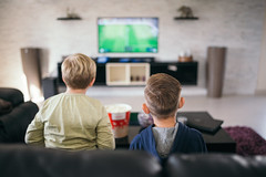 Two little boys are playing video games at home sitting on sofa.