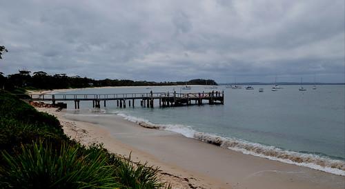 Nelson Bay wharf and beach