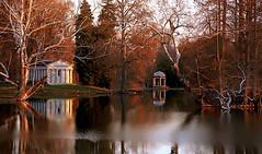 """Cincinnati - Spring Grove Cemetery & Arboretum """"Flieschman Mausoleum & DeCastro Memorial At Evening"""""""