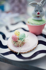 Closeup of colorful Easter eggs.
