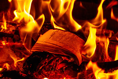 Burning book in the fire