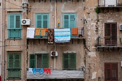Washing drying on the balcony in Palermo, Sicily, Italy