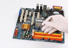 Technician using screwdriver