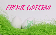 Easter eggs with Frohe OStern text