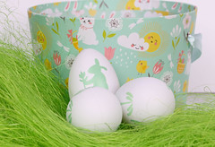Easter eggs on green grass with basket