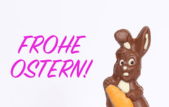 Easter bunny with Frohe Ostern text