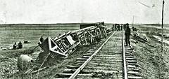 USMRR locomotive Commodore on its side near Brandy, VA 1864 [A. J. Russell]