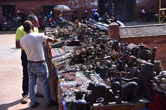 A tourist bargains for souvenirs in the Lalitpur/ Patan Durbar Square