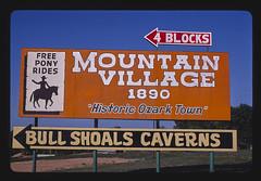 Mountain Village billboard, Route 178, Bull Shoals, Arkansas (LOC)