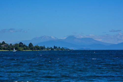 Lake Taupo with Mount Ruapehu and Mount Ngauruhoe