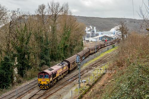 29 février 2020 Class 66201  Train 60287 La Rochelle-Pallice -> Condat-le-Lardin  Le Lardin-Saint-Lazare (24)