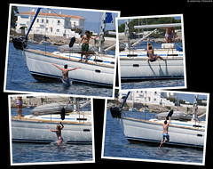 20170715_03 People jumping off sailboat in Billionaire Bay, Antibes, France