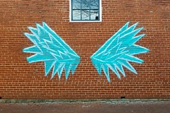 Ice wings painted on wall