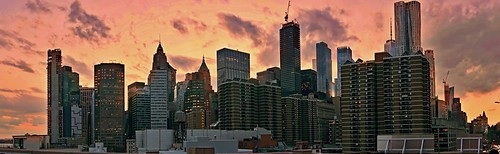 Manhattan skyline (sunset wide) - New York City