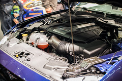 Engine of a Ford Mustang