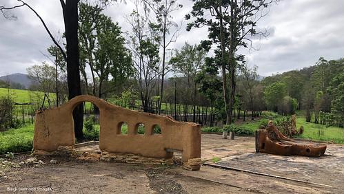 Mud Brick Remains of the former Bobin Bush Cafe, Rumba Dump Fire, Bobin, West of Wingham NSW 8th November 2019