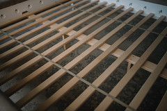 Wooden bed construction closeup.