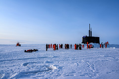 The crew of USS Connecticut (SSN 22) enjoys ice liberty after surfacing in the Arctic Circle during Ice Exercise (ICEX) 2020.