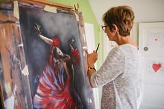 Artist panting a ballerina.