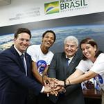Reunião com o ministro da ciência, tecnologia, inovações e comunicações, Marcos Pontes e equipe do Cafeína Team que venceu o Nasa Challenge Apps - Março/2020