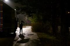 Nightly conversation in the rain