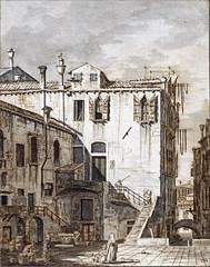 Vue d'une petite place à Venise de Canaletto (Cité de l'architecture, Paris)