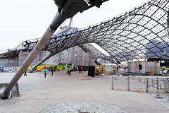 Close up of supporting structure of glass and steel Coppola of Munich Olympiastadion