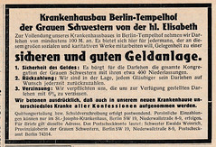 1927 ad for loans to build the Tempelhof Hospital