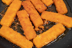 Frying Fish Sticks in the hot oil