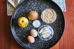Dietary food ingredients - Curd, oatmeal, kiwi, apple, kefir