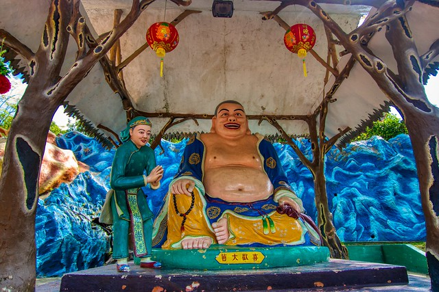 Diorama with characters from Chinese folklore in Haw Par Villa in Singapore