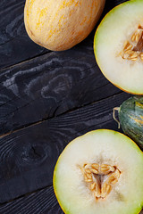 Vertical photo of sweet melons with copy space