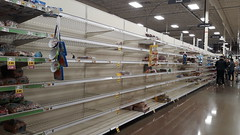 Excellent time to say THANK YOU to our grocery store managers & workers, Covid-19 buying panic, shelves empty of bread, Fred Meyers, Federal Way, Washington, USA